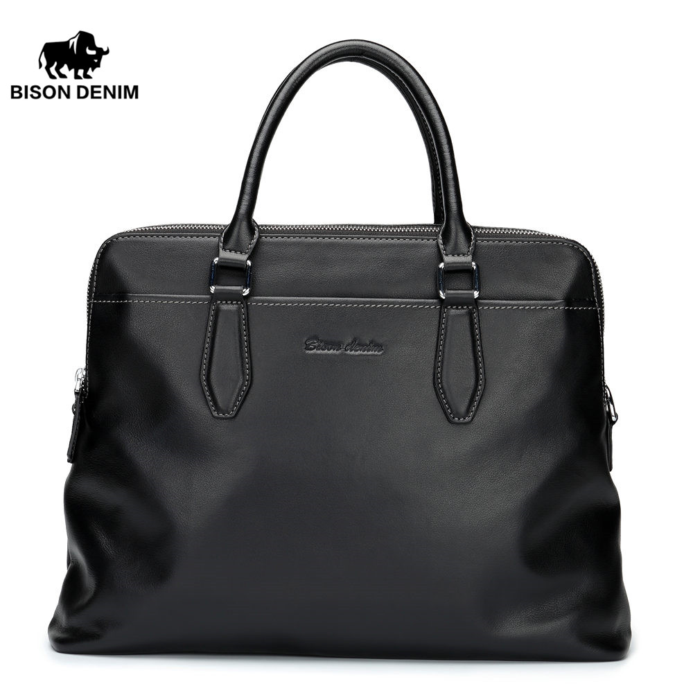 BISON DENIM luxury genuine leather men bag business cowhide handbag shoulder bags men briefcase laptop new men s bag genuine leather briefcase men classic business briefcase handbag office shoulder bag for men cowhide bags li 1128