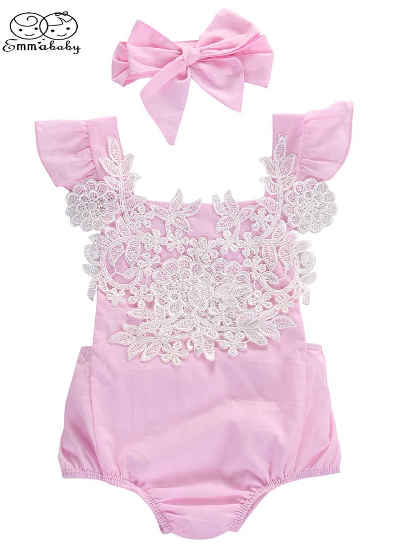 Emmababy милые летние новорожденных одежда без рукавов для маленьких девочек кружевной Цветочный комбинезон комплект с ободком