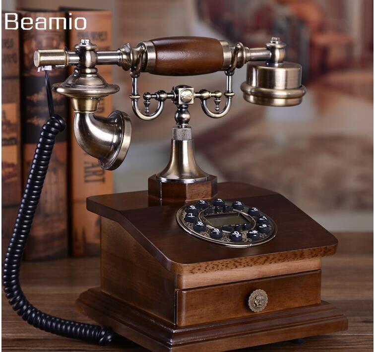 Mode Holz Antiken Telefon Festnetz Telefon Vintage Telefon Zu Hause Ausgestattet Festnetztelefon Telefone Mit RD Box Schublade