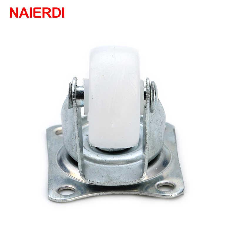 "4 Pcs NAIERDI-7425 10Kg Universal Putar Kastor 1 ""Roda Castor Putih Nilon Dual Roller Bearing Roda untuk Platform trolley Kursi"