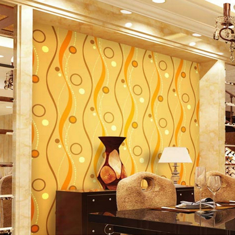Modern PVC Gold Foil Wall Paper 3D Curve Lines Circle Waterproof Wallpaper For Living Room Bedroom TV Background Wall Home Decor
