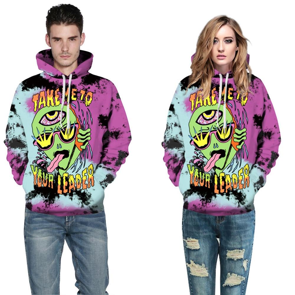 Halloween New Fashion 3D Print Hoodies Men Women Hooded Sweatshirt Angry Triple-Eye Alien Casual Loose Pullovers Tracksuits