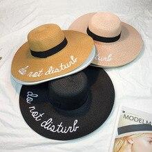 Venta caliente wide Brim sun sombreros para mujeres carta bordado sombreros  de paja niñas no molestar señoras sombreros de paja baccf39e4e71