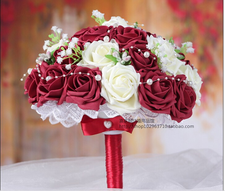 Top Quality Burgundy & Cream Handmade Decorative Artificial Rose Flowers Bride Bridal Crystal Lace Accents Wedding Bouquets