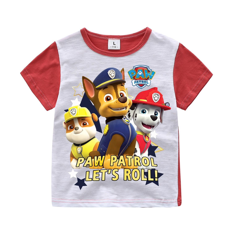 Children Kids Short Sleeves T-shirts Boy Girls Summer Cotton Dog Cartoon Print Tee Tops Clothes Kids Game T Shirts Costume