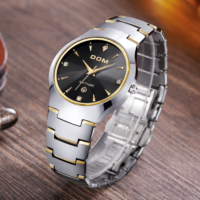 DOM Mens Watches Top Brand Luxury Quartz Watch Fashion Brand Tungsten Steel Waterproof Watch Montre Luxury Watch Casual W-698