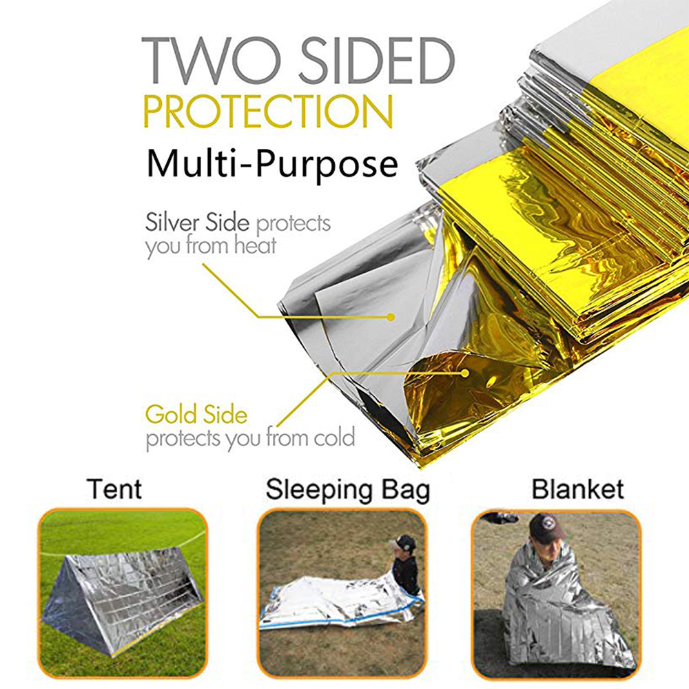 Folding Emergency Blanket 210cm*130cm/210cm*140cm/210*160cm  Silver/Gold Survival Rescue Shelter Outdoor Camping Keep Warm