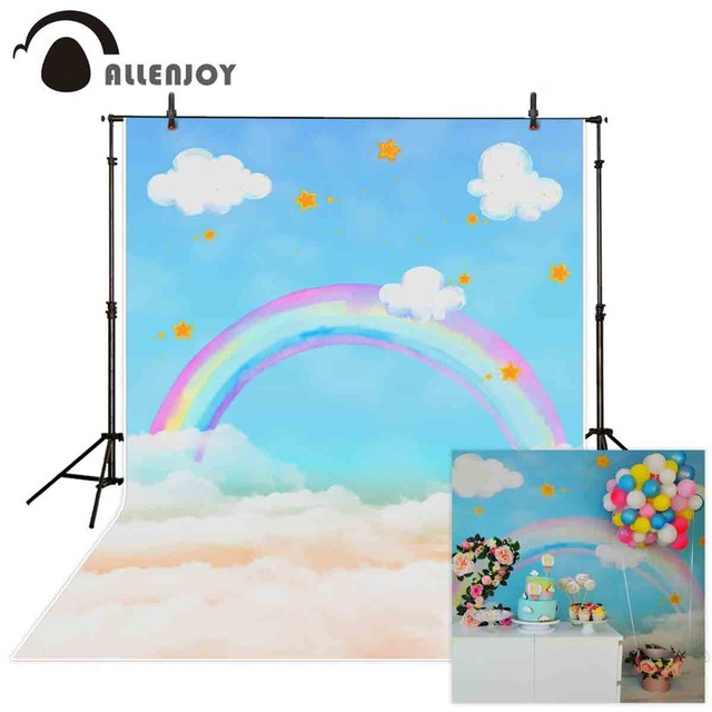 Allenjoy photography backdrops rainbow Clouds stars lovely backgrounds for children baby newborn photo backdrop Backgrounds