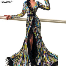 Lowime Mermaid Long Sleeves Prom Dresses Evening Dresses