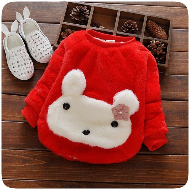 2016new autumn winter baby sweater cartoon T-shirt girl cartoon rabbit plush cotton plus thick velvet children's free shipping
