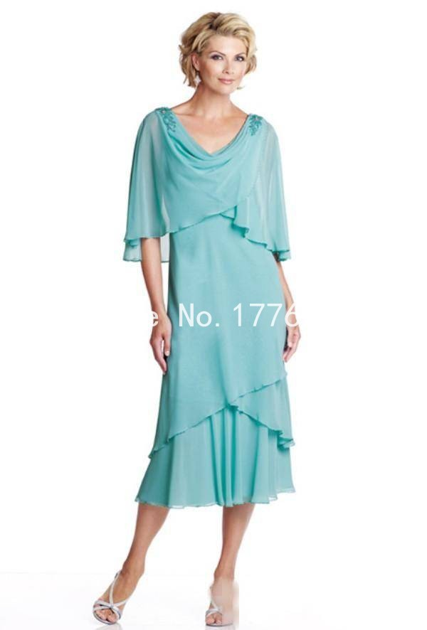 US $132.0 |Summer Plus Size Dresses Mother Bride Beach Wedding Party Dress  Chiffon Tea Length Mother of the Bride Dresses With Jacket FF211-in Mother  ...
