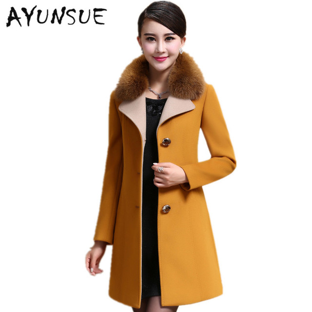 1bc2583c6e0 Women s Winter Coats 2017 Vintage Elegant Winter Coat Female Wool Coat Long  Slim Faux Fox Fur Collar Plus Size M-4XL HJ336