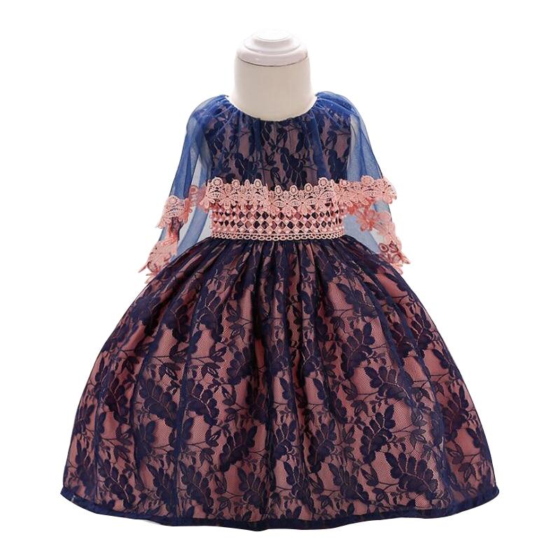 2018 New Lace beading Baby Girl Dress 3M-24M 1 Years Baby Girls Birthday Dresses Vestido birthday party princess dress