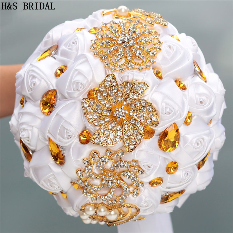 H&S BRIDAL Gold Sparkle rhinestone  Wedding Flowers Crystals Bridal Bouquets Artificial Wedding Bouquets buque de noiva 2019