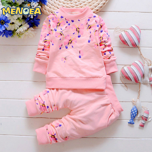 Menoea 2017 Autumn Girls Clothes Baby Girl Clothing Set Children Flower Bow Cute Suit Kids Long Sleeve Top T-Shirt +Pant 2Pcs