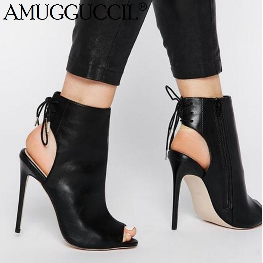 22d7103ac3 2019 New Plus Big Size 35-52 Black Zip Lace Up Fashion Sexy High Heel  Females Lady Sandals Women Summer Boots X1821