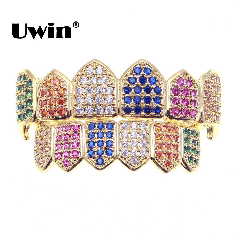Uwin Canine Dental Griglie Hiphop Arcobaleno Iced Out Colorato CZ Cubic Zirconia Denti Caps Superiore e Inferiore Griglie Mens Monili per il corpo e Piercing