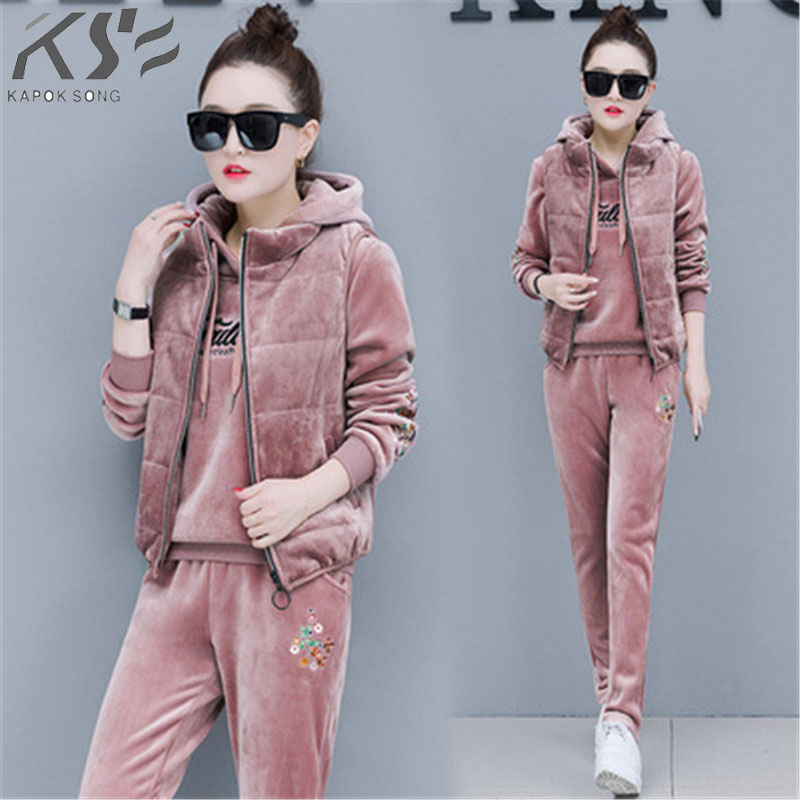 2018 New Jinsirongweiyi Suit Women's Winter Thickened Winter Fashion Sports Leisure Three-piece Suit