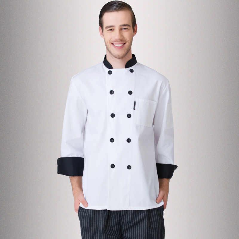 Adult Restaurant Coffee Jacket Men's Kitchen Uniform Gentman Chef Jacket Long-sleeve Chef Work Suit Concise Work Uniform  B-6455