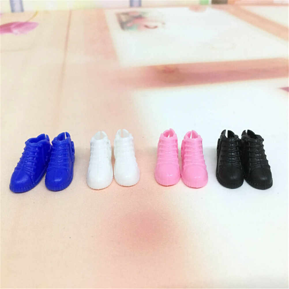 4Pairs Of Doll Shoes White Tennis Shoes And Black Loafers For Girl Ken 1/6 For Girl Doll Shoes Accessories