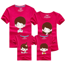 Fashion Cartoon 2016 Men T Shirt Skate Sport Family T-shirt Harajuku Gym Clothing Cotton Tshirt Polera Mother Son Outfits Pink