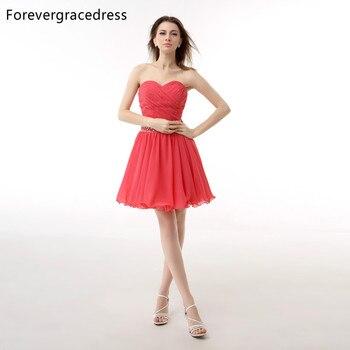 137b78dae Forevergracedress Sexy de Color Coral Corto Vestido de Fiesta Cristalino  Moldeado de La Gasa Formal Del Partido Del Vestido Más El Tamaño Por Encargo