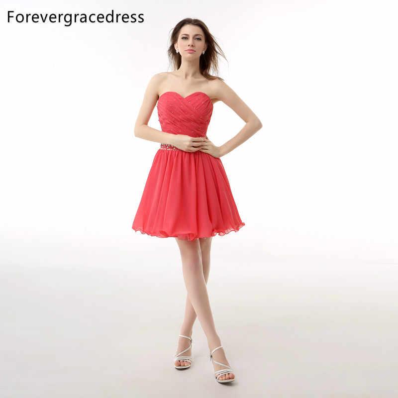 Forevergracedress Sexy De Color Coral Corto Vestido De Fiesta Cristalino Moldeado De La Gasa Formal Del Partido Del Vestido Más El Tamaño Por Encargo
