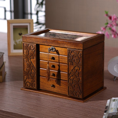 The new wooden jewelry box storage box retro wood clover for Jewelry box made of wood