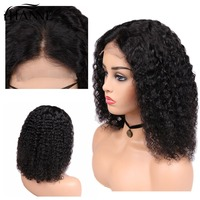 HANNE Short Curly Wig for Women Cosplay Middle Part 4*4 Closure Wigs Human Hair Wigs Glueless 12inches Wig Natural Black Color