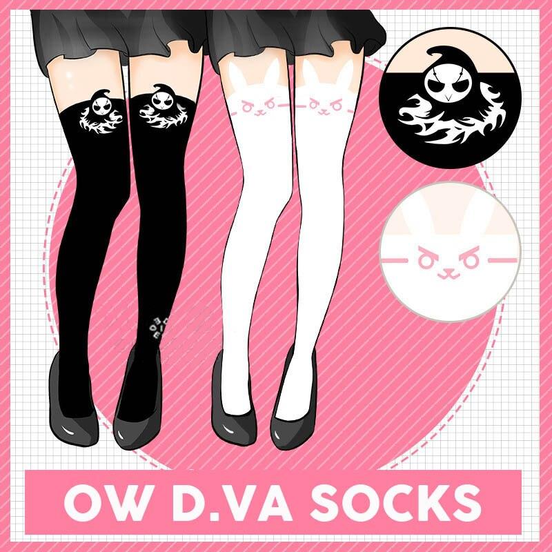 Coshome OW D.VA Cosplay Over Knee Socks Women Girls DVA Lolita Long Socks Black And White For Halloween Party