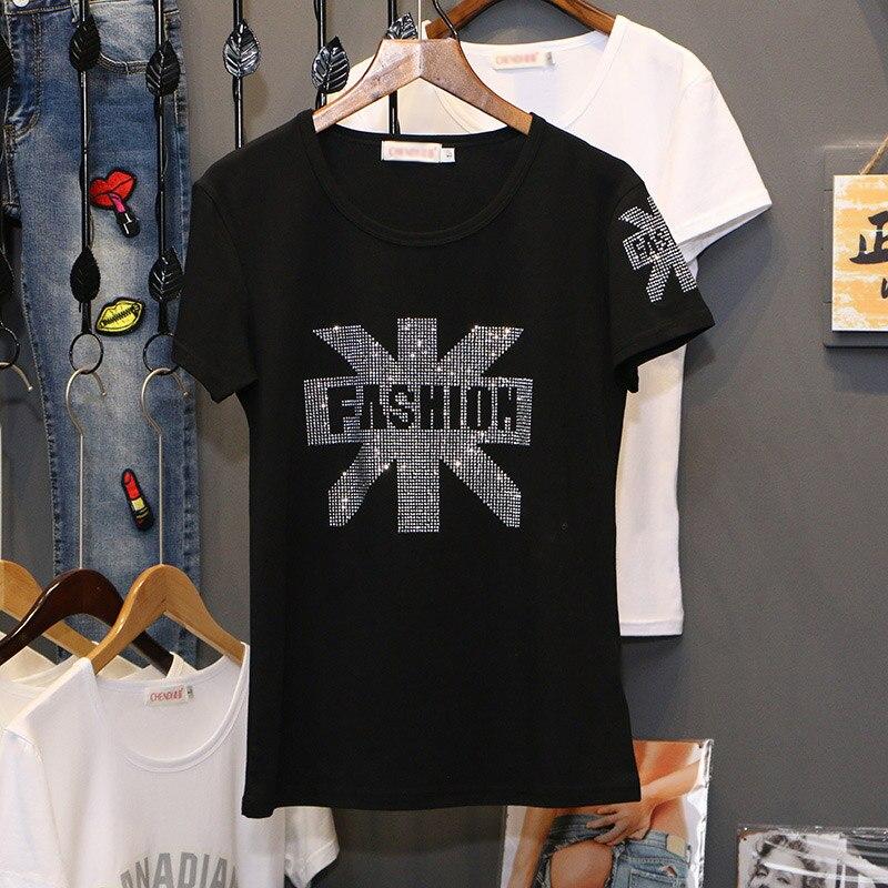 Black T-shirt With Diamond Ladies 2019 New Summer Fashion Loose Hot Drilling Thin Slim O-neck Short Sleeve Women T-shirt C1053