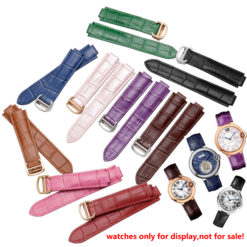 Quality color genuine leather watchbands deployment buckle replacement leather strap female bracelet fit Cartier wristband
