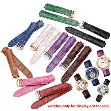 Wysokiej jakości kolorowe paski do zegarków z naturalnej skóry wymiana klamry pasek skórzany bransoletka damska fit Cartier wristband