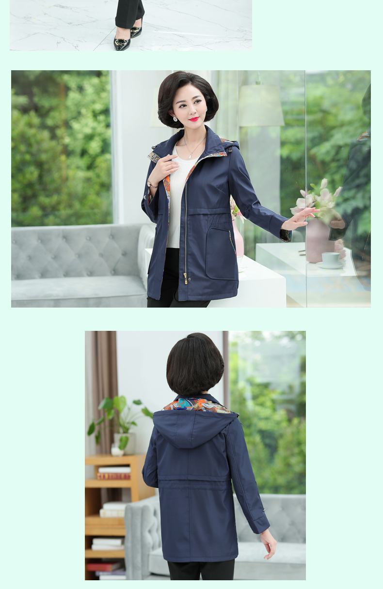 British Style Woman Casual Trench Coat Purple Navy Blue Duster Coats Women Hooded Overcoat Autumb Spring Trenches Outerwear (9)