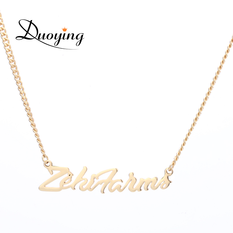 Duoying Custom Name Necklace Gold Cuba Chain Personalized Trendy Necklaces Mans Boys Necklace for Etsy Cutting Pendant Necklaces