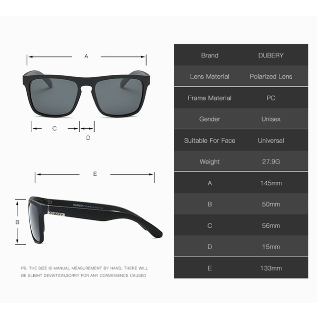 DUBERY Polarized Sunglasses Men's square Driving Shades Male Sun Glasses For Men Retro Luxury Brand Designer Oculos