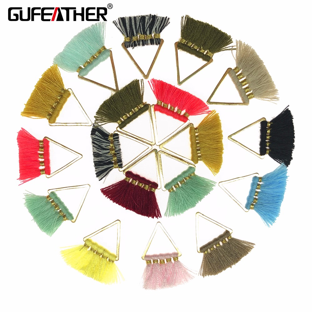 GUFEATHER L127/2CM Mini Tassel/jewelry Accessories/earring Accessories/With Metal Ring Tassel/triangle Tassel/diy Handmade/2pcs