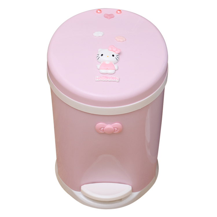 Cute Hello Kitty Pedal Garbage Cans with Lid Office Trash Can Kitchen Garbage Bin Garbage Cans Plastic Bathroom Trash Can Car|Waste Bins| |  - title=