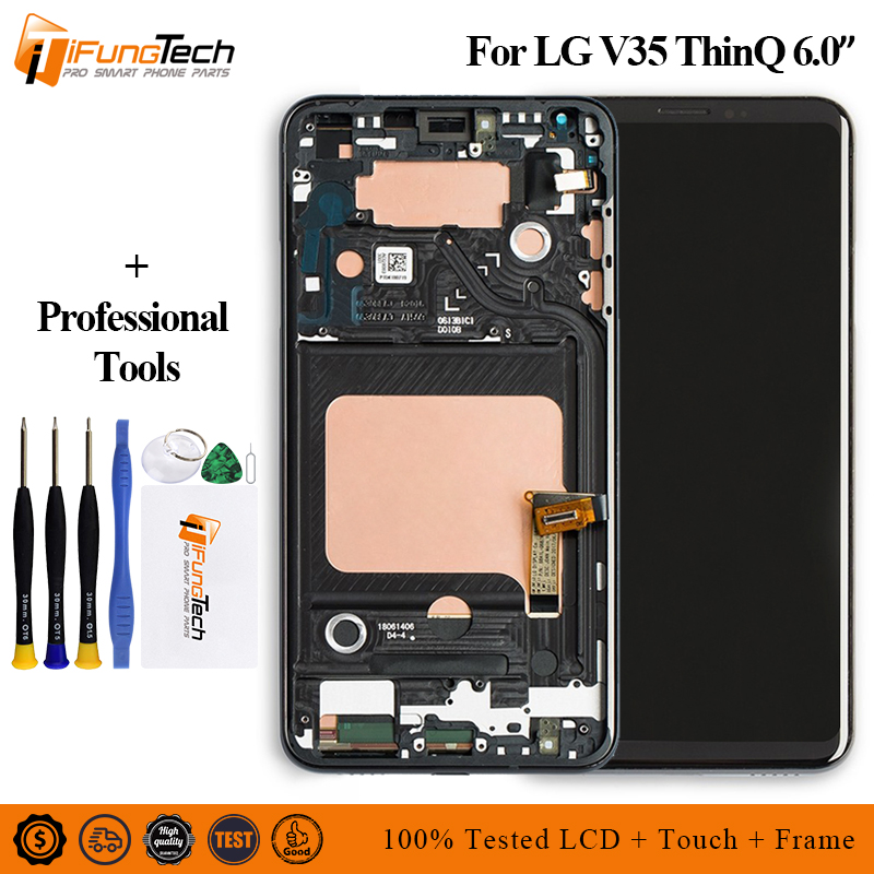 100 Tested 6 0 For LG V35 ThinQ LCD Display Touch Screen Digitizer Assembly With Frame