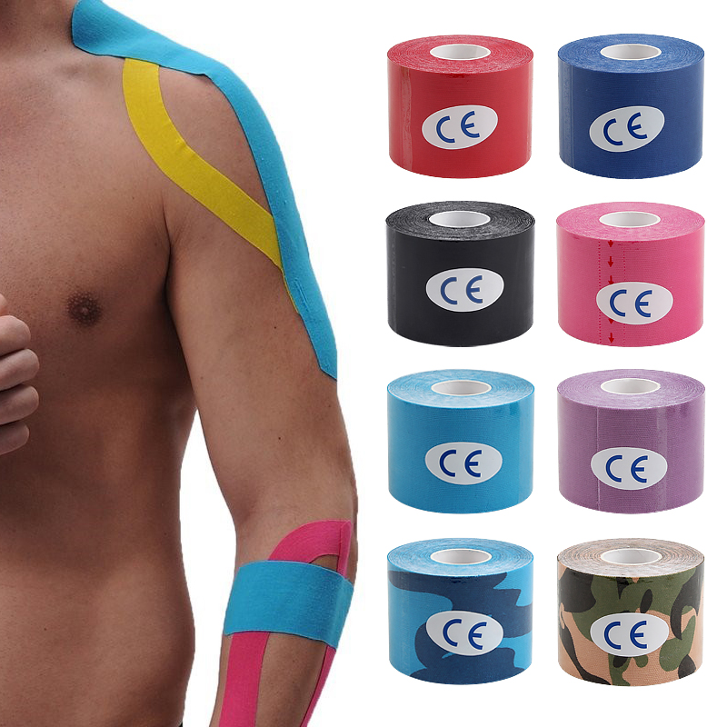 Good Quality 5mx5cm Athletic Kinesiology Muscle Kinesiotape Tape Kinesiologe Knee Muscle Football Volleyball First Aid Bandage