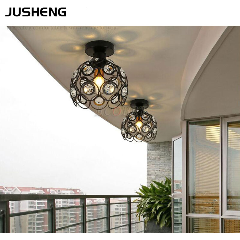 Luxurious crystal ceiling lamp with E27 Socket fashionable black white iron restaurant balcony study corridor hall