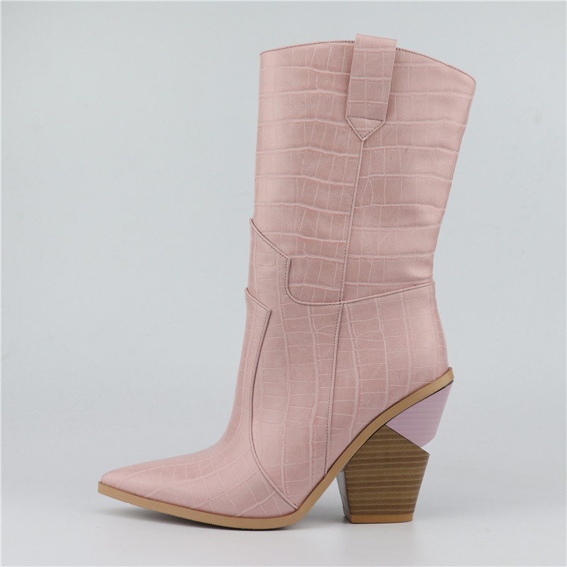 Ayakk.'ten Diz Altı Çizmeler'de Buono Scarpe 2019 Marka Takozlar Ins Sıcak Tarzı Yüksek Topuk Batı çizmeler kadın ayakkabıları Artı Boyutu 46 Retro Orta buzağı kadın Botları'da  Grup 3