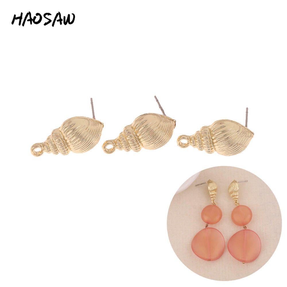 HAOSAW 11*20MM 6Pcs/Lot Sea Conch Stud Accessories Parts/Zinc Alloy/Jewelry Findings/Stud Earrings Accessories/Handmade