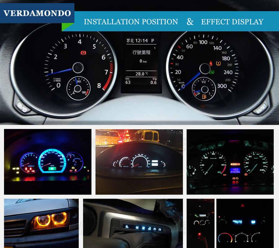 T3 автоматический светодиодный 3528 SMD индикаторный светильник, автомобильная кластерная лампа, приборная панель, боковая Поворотная лампа постоянного тока 12 В, зеленый, красный, желтый