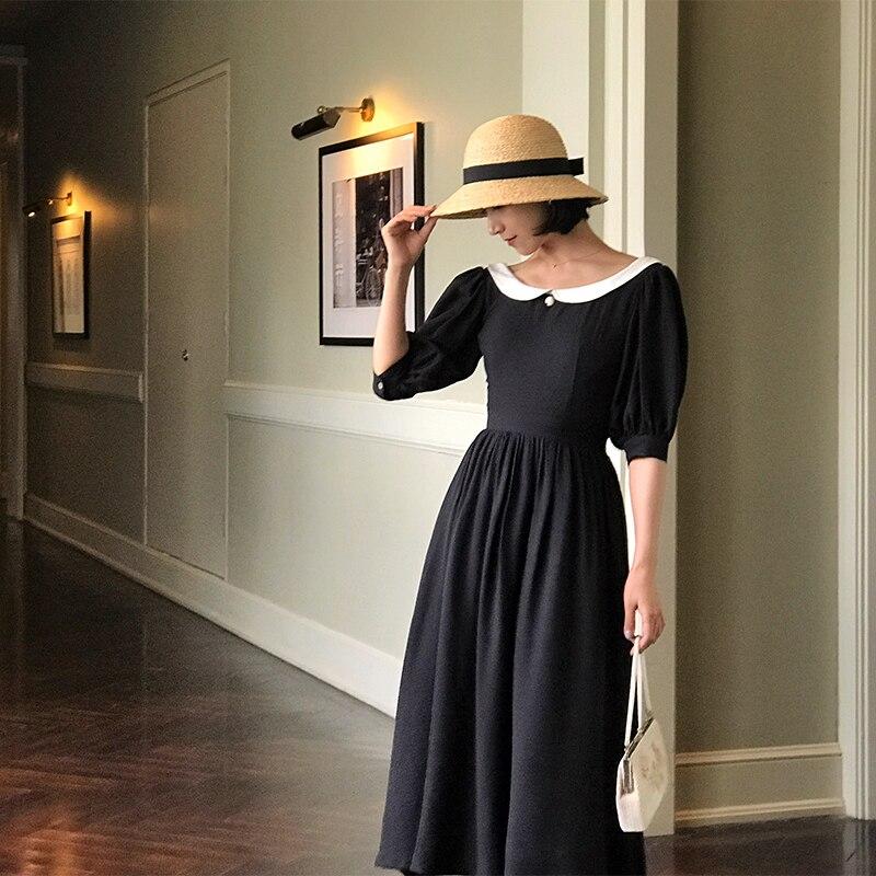Jessica's Store Spring Summer Women Vintage Hepburn Style Elegant Slim Removable Peter Pan Collar Chiffon Black Long Dress