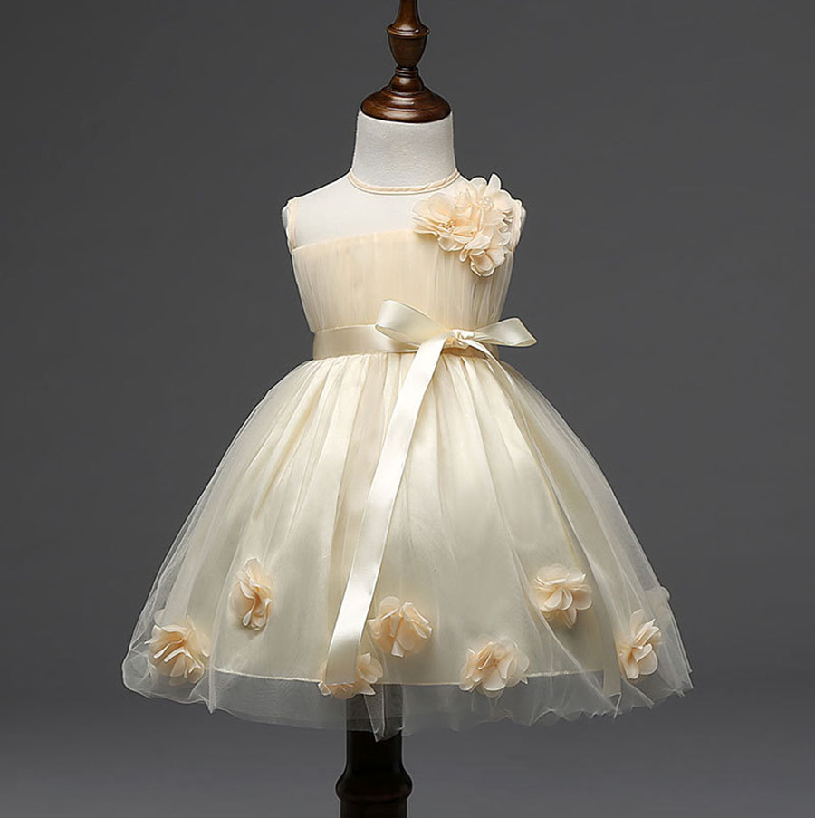 2017 New Short Beautiful Children Dress Gown for Kids Beige Pink Baby Flower Girls Party Dresses with Petals Bow for Weddings orient часы orient sz3v004d коллекция sporty quartz