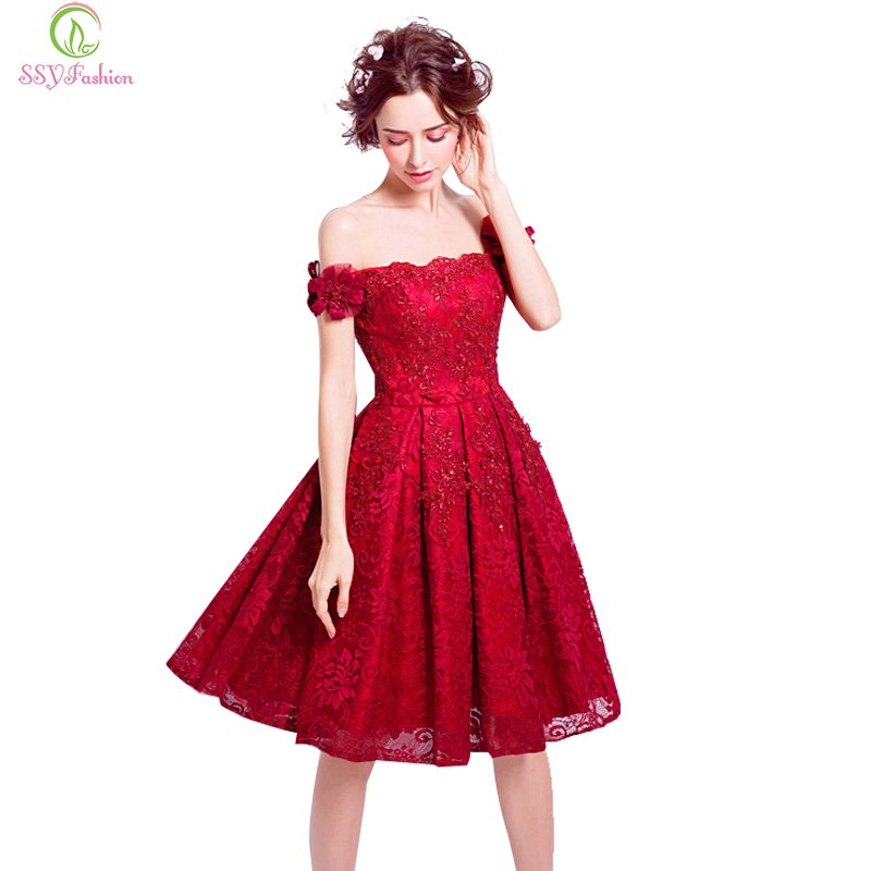 SSYFashion New Red Lace Flower Short Cocktail Dress The Bride Married  Banquet Embroidery Boat Neck Knee 50b891ddb9f1