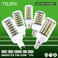 TSLEEN E14 E27 B22 G9 GU10 30/42/64/80/108/136 LEDS 5733SMD 7-25 W 110 V/220 V Milho Light Bulb Brilhante Lâmpada Para Home Office Decoração