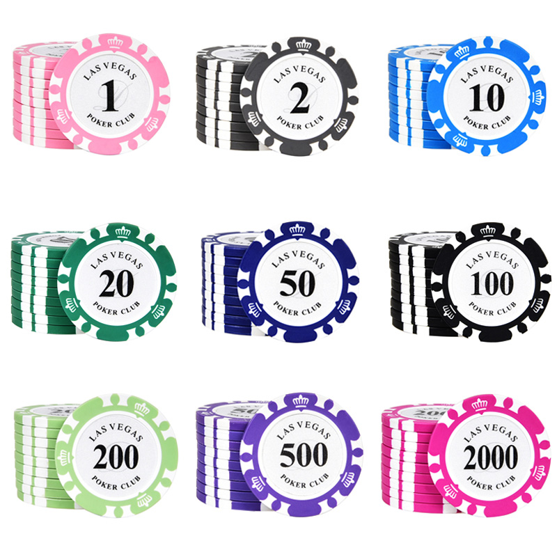 25 pcs/set Poker Chips Texas Hold'em 14g Clay Round Value <font><b>LASVEGAS</b></font> Casino Coins Poker Wholesale image