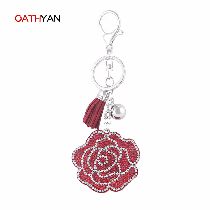 OATHYAN Exquisite Crystal Rhinestone Key Chain Car Key Ring Hot Selling Flower Rose Shaped Pendant Keychain Charms Bag Trinket